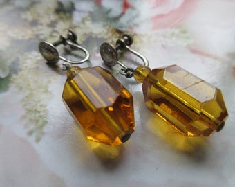 Vintage 30s Crystal Screw Backs - Amber Colored Crystal Screw Back Earrings - Vintage Dangle Drop Earrings - Deco Fashion - Gifts For Women