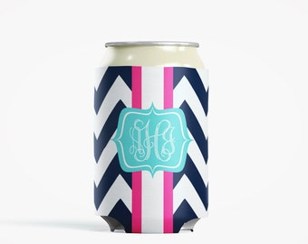 Personalized Can Insulator, DIY Custom Bottle Insulated Beverage Container, Navy Chevron