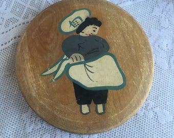 Vintage Hamburger Press / Wooden Hand Painted Hamburger Press by Volco Brand Japan