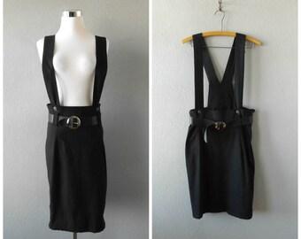 grunge pinafore dress | vintage 90s black suspender mini romper dress size m/medium cyber punk ghetto skirts overalls 1990s minimal hippie