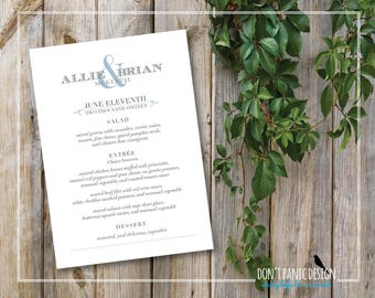Printable Wedding Menu - Formal, Elegant Slate Blue and Grey - Dinner Menu - Ampersand Menu - Custom Colors - Menu 5 x 7 card