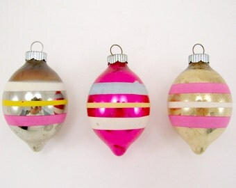 1950s Striped Christmas Ornaments Teardrop Vintage Glass Shiny Brite Holiday Decorations Baubles