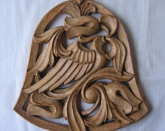 Bell of Love, Wood carving, Birds singing, Handmade, Flowers, Anniversary gift, Wedding gift