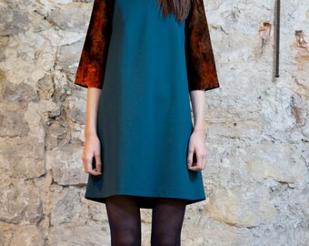 On sale-Trapeze dress blue green size S and M