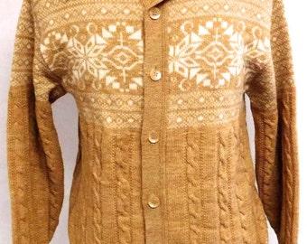 Vintage Jantzen Cable Knit Nordic Wool Snowflake Cardigan