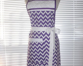Cooking Apron, Chefs Apron, Kitchen Apron, Lovely Purple Chevron on White, Adjustable Strap, Deep Pocket