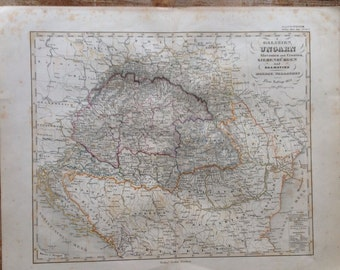 Antique Ungarn Hungary original 1859 Hand-colored map Geography Stielers Hand Atlas