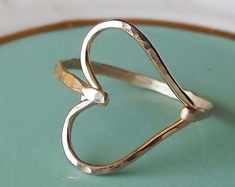 ON SALE Hammered Sideways Heart Gold Filled Ring - Heart Ring - Gold Ring - Hammered Gold Filled Ring