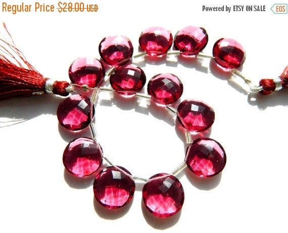 20%off. AAAA Rhodolite Quartz Faceted Coin Briolettes Size 13mm Approx