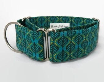 Teal Geometric Leaves Adjustable Dog Collar - Martingale Collar or Side Release Buckle Collar -
