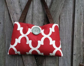 Handbag Purse Tote Bag in Red and Blue