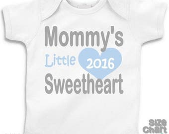 SALE Baby Little Boy Mommy's Little Sweetheart Mother's Day 2016 T-shirt Shirt Bodysuit Boy 1st First Mother's Day Blue Grey