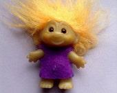 1980's Vintage Troll Doll, orange hair, purple felt dress, original, collectible, egst, Greece