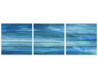 Blue Metal Art 'Ocean View Triptych Large' by Amber LaRosa - Modern Artwork Abstract Wall Art on Metal or Acrylic