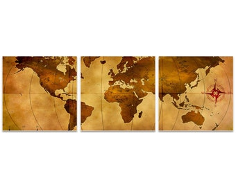 World Map Art 'Old World Map Triptych Large' by Alan Rodriguez - Rustic Wall Decor Historic Artwork on Metal or Acrylic