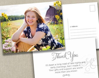 Graduation Thank You Cards   Graduation Party Thank you Notes   Graduation Postcards    Wedding Thank You  folded or flat