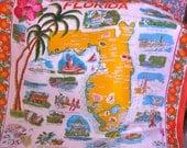 Mid Century Florida Silk Scarf Souvenir Style Historic Sites Bright Colors