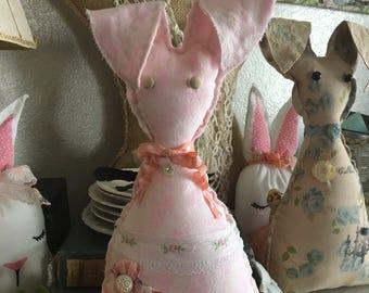 Pink floppy ear vintage bunny/Easter bunnies/rabbit shelf sitters