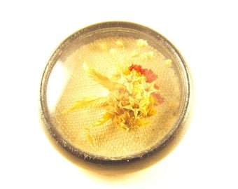 Dried Flower Brooch Straw Flowers In Shadow Box Design Linen Insert In Wood Frame Peephole Dome Viewer