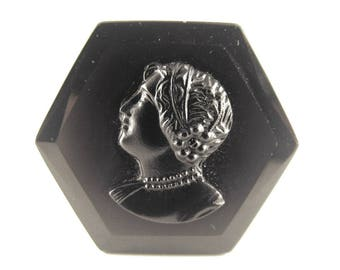 Jet Glass Cameo Left Facing Woman Jet Black Mourning Jewelry OLD Piece Beautiful Carving Silver Mount