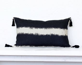 """Painterly Stripe Linen Pillow Cover with Tassels -12"""" x 20"""" - Black Combo"""