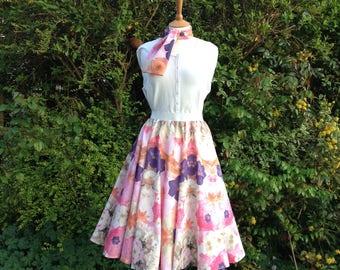 1950's style circle skirt - midi skirt- rockabilly skirt - swing skirt - rock and roll skirt - handmade full circle skirt - size 14 to 18