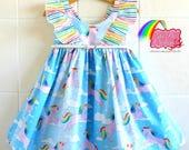 Rainbow Unicorn Girls dress-  rainbow dress, ruffle dress, flutter dress, hummingbird dress, birthday dress, unicorn dress, party dress