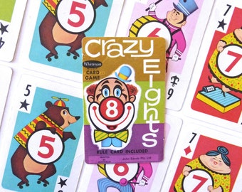 Vintage Playing Cards Crazy Eights Card Game Cartoon Cards