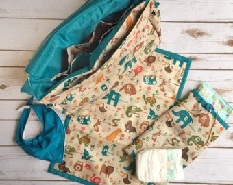 Animal  messenger bag, baby changing mat, diaper pouch, cross body messenger, large purse, baby shower gift, baby changing bag