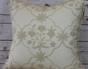 Floral Crewel Embroidered Pillow with Flange