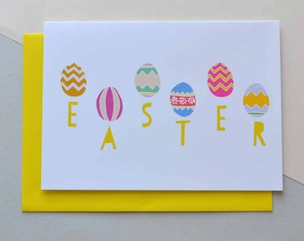 Folksy Easter Eggs - Happy Easter Greeting Card (Free UK delivery)