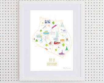 Map of Birmingham Art Print