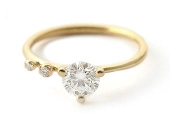 Round Diamond Engagement Ring, Modern Engagement Ring, 0.75 Carat Diamond Ring, Round Cut Diamond Ring, 18k Gold Ring
