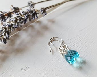 Naomi - Simple Turquoise Blue Crystal Drop Earrings, Ready to Ship