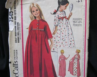 Size 4 Girl's Nightgown and Robe Pattern with matching pattern for Barbie, McCall's 7545, kimono sleeves, high bodice, gathered skirt, 1964