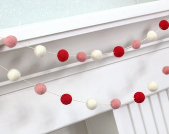 Valentine's Felt Garland- Red, Pink & White Felt Ball Garland - Valentines Holiday Party Nursery Childrens Room Decor