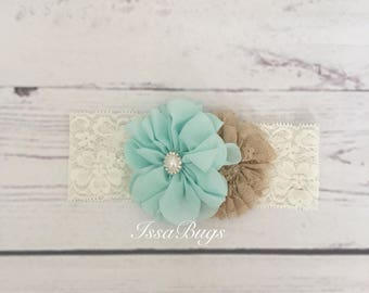Baby Girls headband-Ivory Headband-Ivory and aqua Headband-newborn headband-beige headband-baby headband-flower headband-wide lace headband
