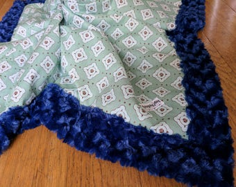 Large Minky Baby Blanket - Green and Blue - Diamond Pattern - Gender Neutral - Ready to Ship