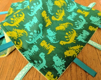 Baby Tag Blanket - Green Dinosaurs - Green Minky - Baby Boy - Ready to Ship