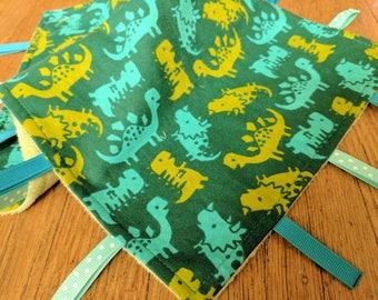 Baby Tag Blanket - Green Dinosaurs - Green Minky - Baby Boy - Ready to Ship