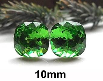 10mm Fern Green Studs, Rounded Corner Square, Rhinestone Stud Earrings, Green Crystal Studs, Large Green Earrings, Swarovski, Rostone