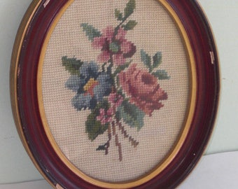 Vintage Oval Framed Floral Needlepoint