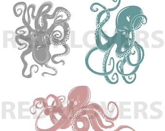 SVG DXF hipster squid octopus steampunk Digital Download files print,cutout silhouette, cricket scrapbook tshirt designs