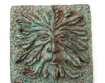 Greenman, Green Man, Greenman Art Tile & sculpture, Greenman plaque or tile, the perfect small Greenman sculpture, wall art, garden art