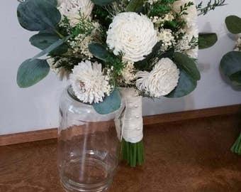 Wedding Bouquet, ivory Sola wood Bouquet, Woodland Dried Bouquet, Bridal Bouquet, Sola flowers, bridesmaid Bouquet, Rustic Handmade