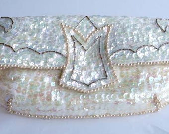 Vintage Sequined Irridencent White with Gray Glass Bugle Beads Clutch Purse