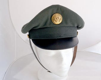 Vintage WWII Army Cap Hat Wool Leather Metal Emblem