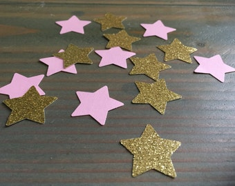 Twinkle twinkle little star pink and gold glitter stars confetti, party decor, baby shower, birthday party, 150 pieces
