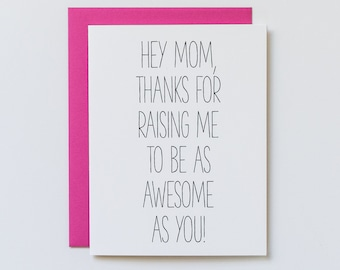 Mothers Day Card, Funny Mothers Day Card, Mothers Day from Daughter, Awesome Mom Card, Mothers Day Gift, Unique Mothers Day Gift from Son
