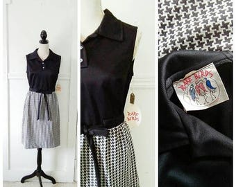 20% OFF / A Checkered Past 1960s Black and White Hounds Tooth Print Mod/A Line Dress, NOS